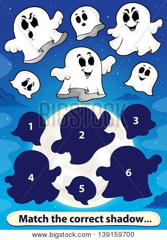 Shadow match game with ghosts 1 - eps10 vector illustration.