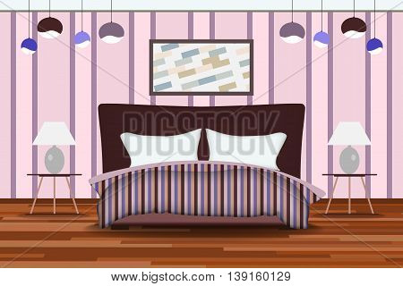 Bedroom Illustration. Elevation Room with Bed, Side Table, Lamp, Window and Curtains. Furniture Set for Your Interior Design .