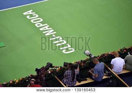 Photojournalists, Reporters And Cameraman In Action At A Tennis Match