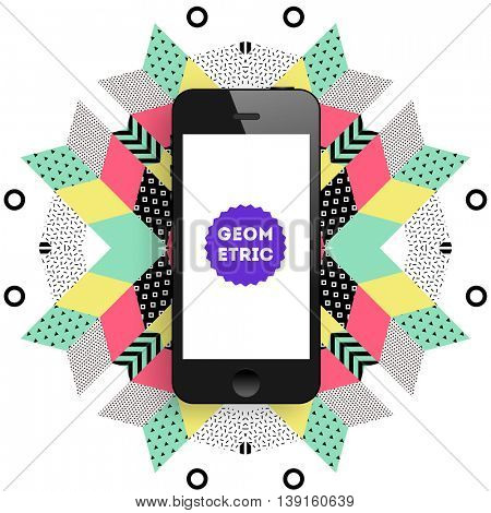 Mobile Phone Icon, Trendy geometric flat pattern, abstract background for brochure, flyer or presentations design, vector illustration.