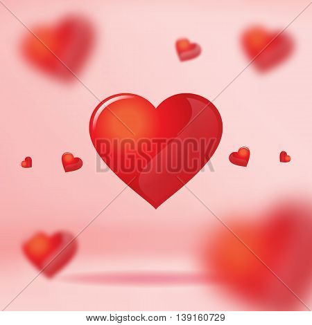 Vector: Group of Red heart floating in pink studio room Valentine concept.