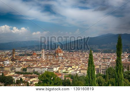 Famous view of Florence from Piazzale Michelangelo in Florence, Tuscany, Italy