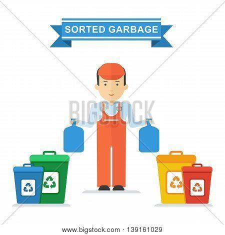 Man Sorts Trash