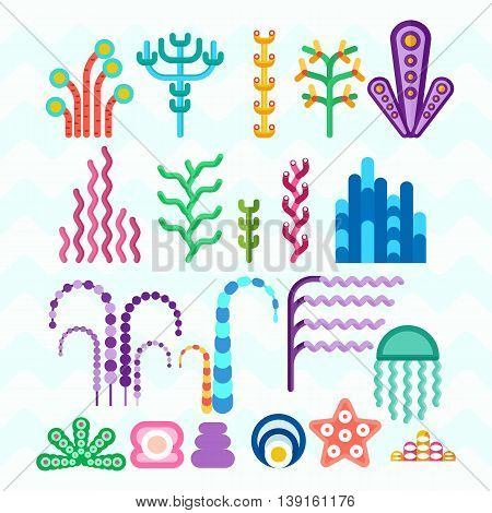 Set of underwater animals and plants coral reef. Cartoon flat vector illustration. Objects isolated on a white background.