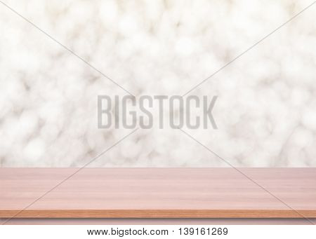 Wood Empty material wooden deck table with blurred abstract background. for product display montage.