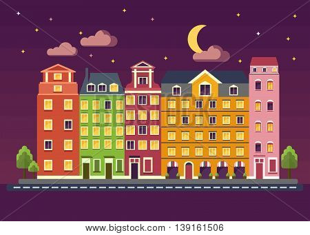 Multicolored beautiful residential apartments at night. City landscape with night sky the moon the stars. Objects isolated on white background. Flat cartoon vector illustration.