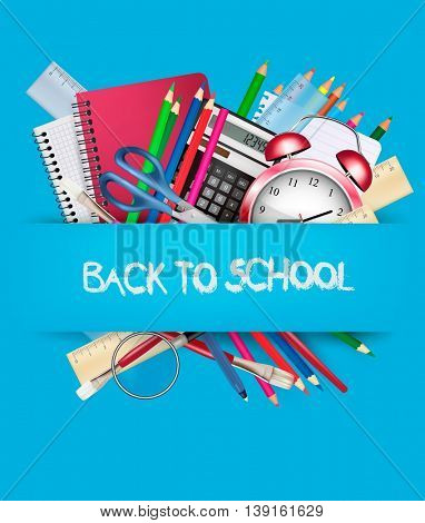 Back to school. Background with school supplies. Vector