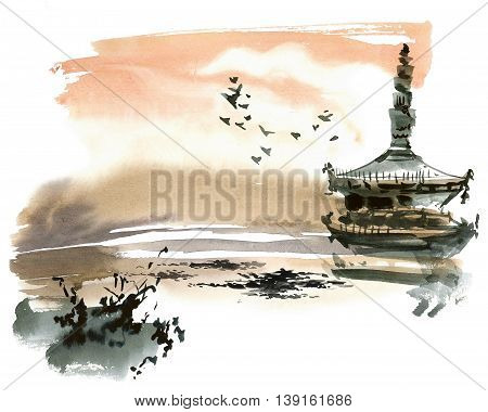 Chinese landscape with pagoda. Sumi-e u-sin gohua style. Hand made watercolor and ink painting.