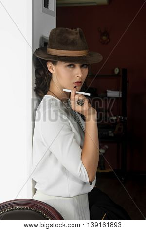 Stylish Girl Holding An Electronic Cigarette