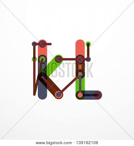 Abstract line design letter logo created with colorful line segments