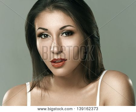 Beauty Woman Face Portrait. Beautiful Spa Model Girl With Perfect Fresh Clean Skin. Youth And Skin C