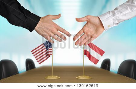 United States and Austria diplomats shaking hands to agree deal, part 3D rendering