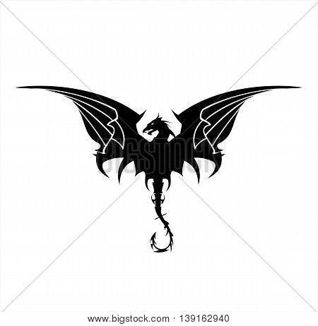 Black Dragon Dragon spreading its wing. Elegant Black Dragon with the bending tail.