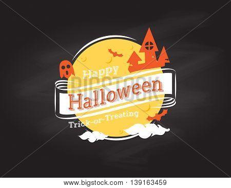 Vector : Happy Halloween Logo On Black Grunge Background, Holiday Design
