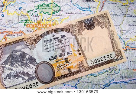 Nepali Currency Note On Map