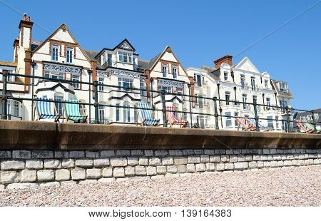 Row of beautiful buildings on a Sidmouth esplanade