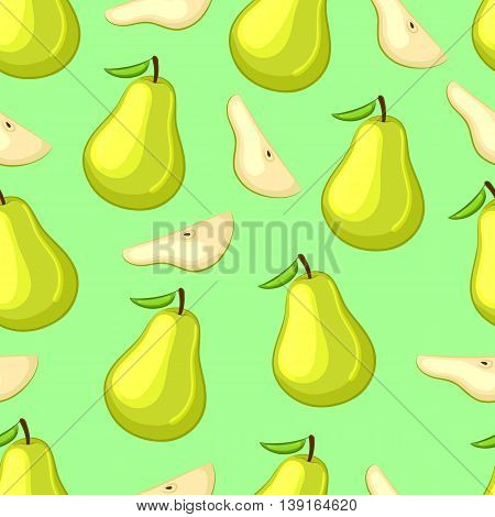 Cartoon pears whole and slices on a green background. Seamless pattern. Vector illustration.
