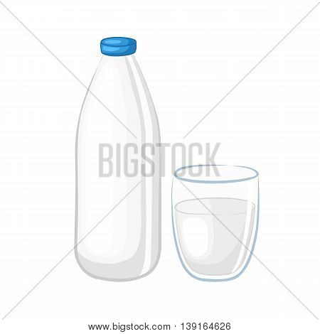 Milk in a white plastic bottle and glass beaker. Cartoon icons. Isolated objects on white background. Vector illustration. Dairy products.