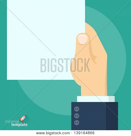 Flat design vector hand holding blank paper document icon  for application interface, presentation, web design, mobile app. Concept for offer, registration, contract, office, consulting and paperwork.