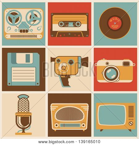 Flat design vector retro media icon set  for application interface, presentation and web design. Concept for social media entertainment vintage style communications, arts, entertainment and hobby.