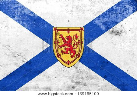 Flag Of Nova Scotia Province, Canada, With A Vintage And Old Loo