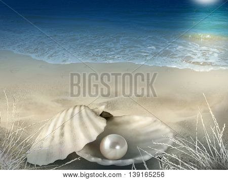 Abstract illustration-photo composite background with shell pearl beach footprints seawater and moonlight