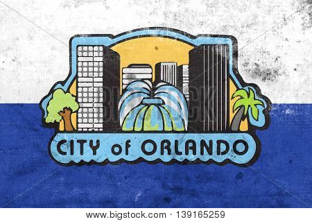 Flag Of Orlando, Florida, Usa, With A Vintage And Old Look
