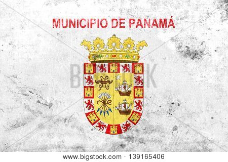 Flag Of Panama City, Panama, With A Vintage And Old Look