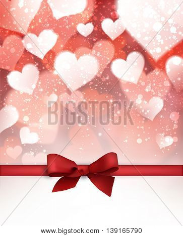 Valentine red background with bow. Vector paper illustration.