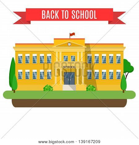 Welcome back to school. modern school building, the main entrance and front yard. Vector illustration in flat style