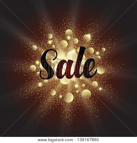 Golden dust vector explosion with Sale sign Gold glitter sale background for poster. Abstract discount banner with text on dark background