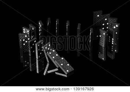 falling dominoes with a mirror image on a black background