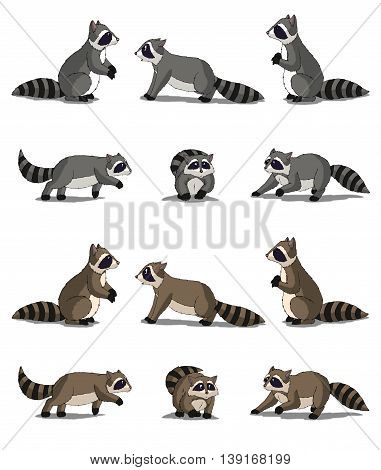 Set of Raccoon images. Digital painting full color cartoon style illustration isolated on white background.