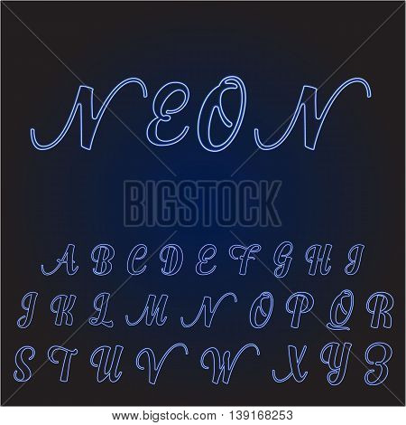Neon tube hand drawn alphabet font. Script type letters on a dark blue background. Vector illustration