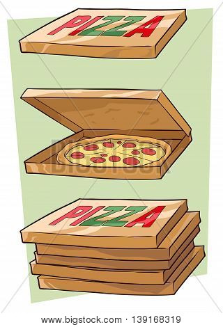 A vector illustration of cartoon cool pizza and box set