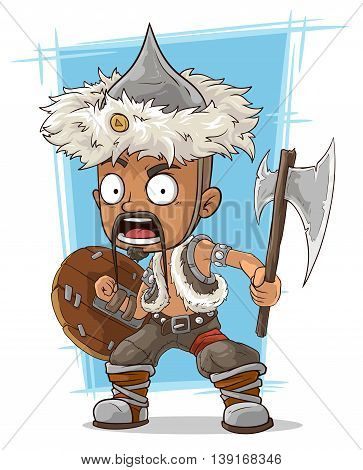 A vector illustration of cartoon barbarian mongol with axe