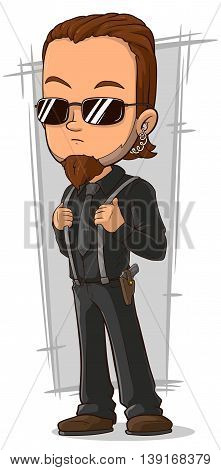 A vector illustration of cartoon awesome bodyguard in black glasses