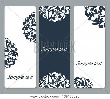 Floral cards with rounded corners vector template set with copy space.