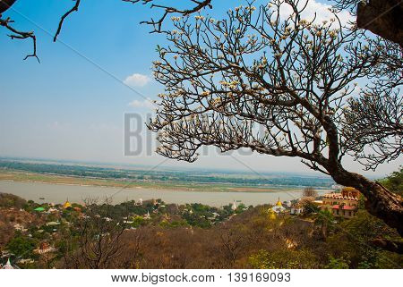 View Of The Small Town Sagaing, Myanmar. Sagaing,