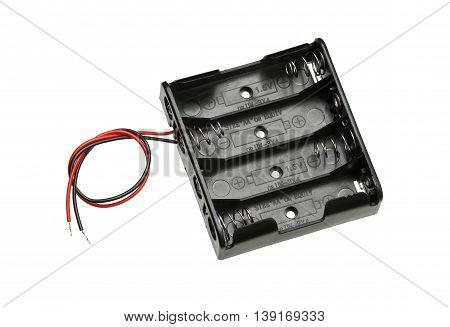 AA Battery holder case isolated on white background