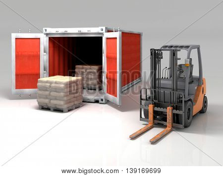 Forklift and container on a white background.. 3d render