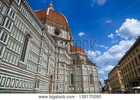 Florence, Italy, August 2015. View of the Cathedral Santa Maria del Fiore.