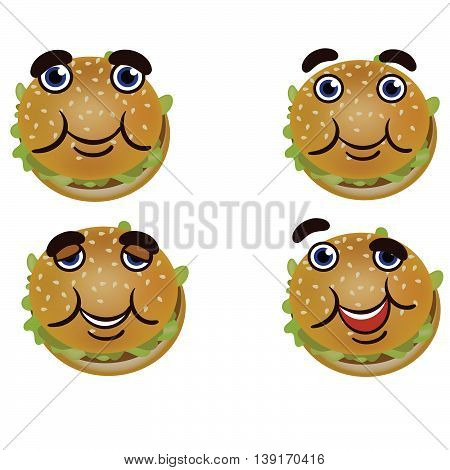 Cheerful cute burger.  Burger with different emotions.  At Burger cute face.