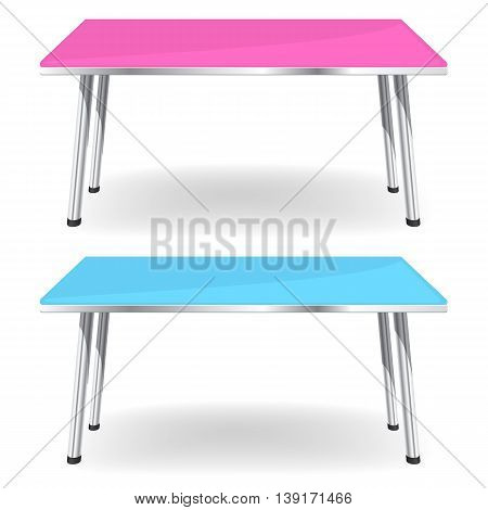 Empty rectangle Table wuth chrome legs Isolated on White Background
