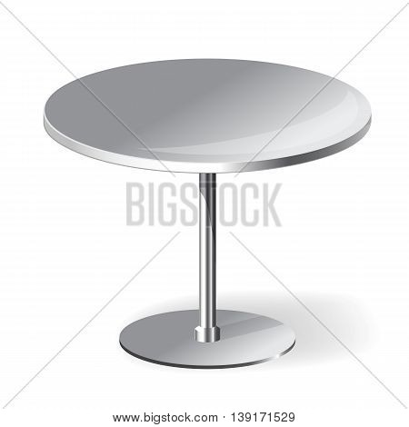 Empty Round Table with chrome legs Isolated on White Background