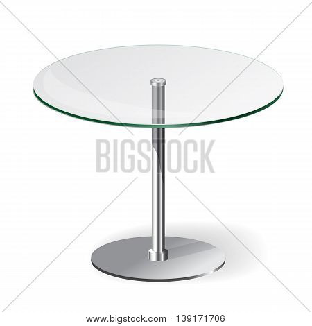 Modern round glass table isolated on white