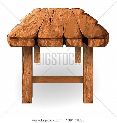 Illustration of wooden table made of thick rough planks