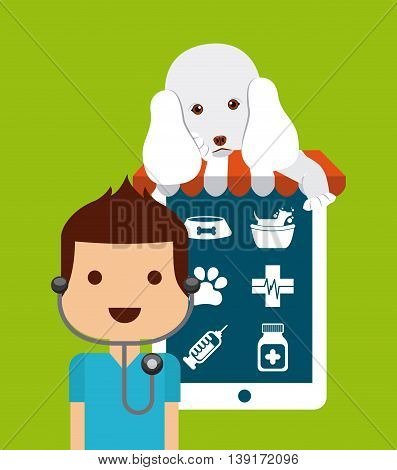 Pet shop concept represented by tablet dog and veterinarian cartoon. Colorfull and flat illustration.