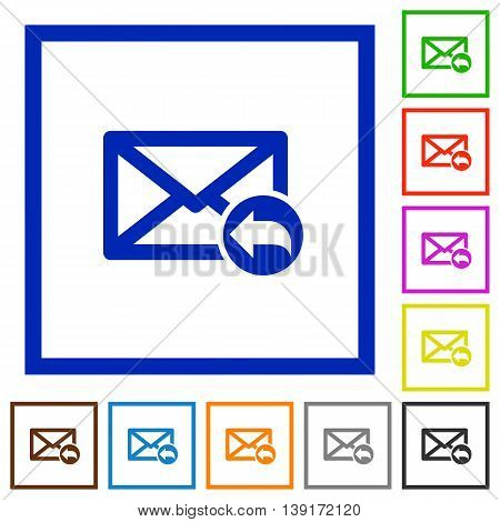 Set of color square framed Reply message flat icons