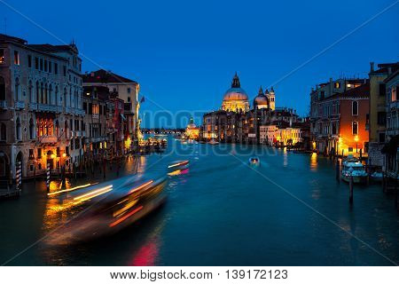 Basilica Santa Maria della Salute - a Roman Catholic church located at Grand Canal in Venice, Italy. It is an emblem of the city and a famous touristic landmark. Night sky